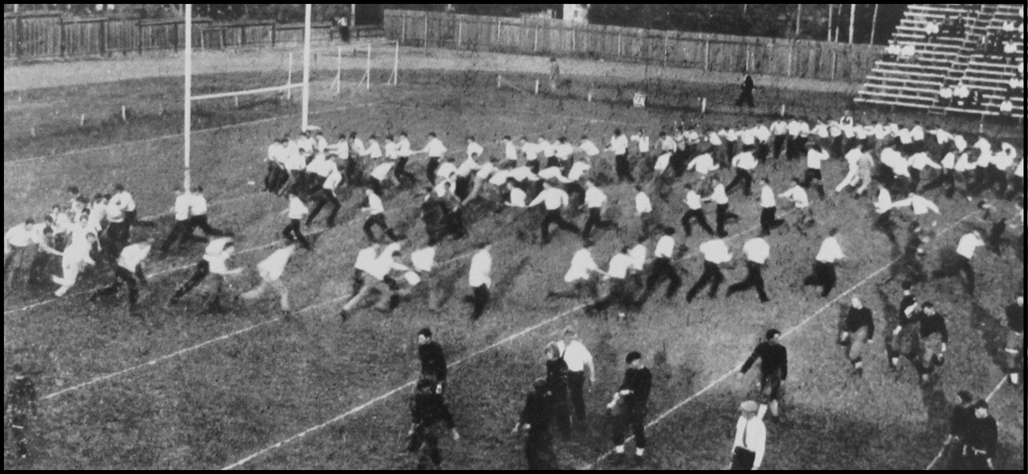 People on football field