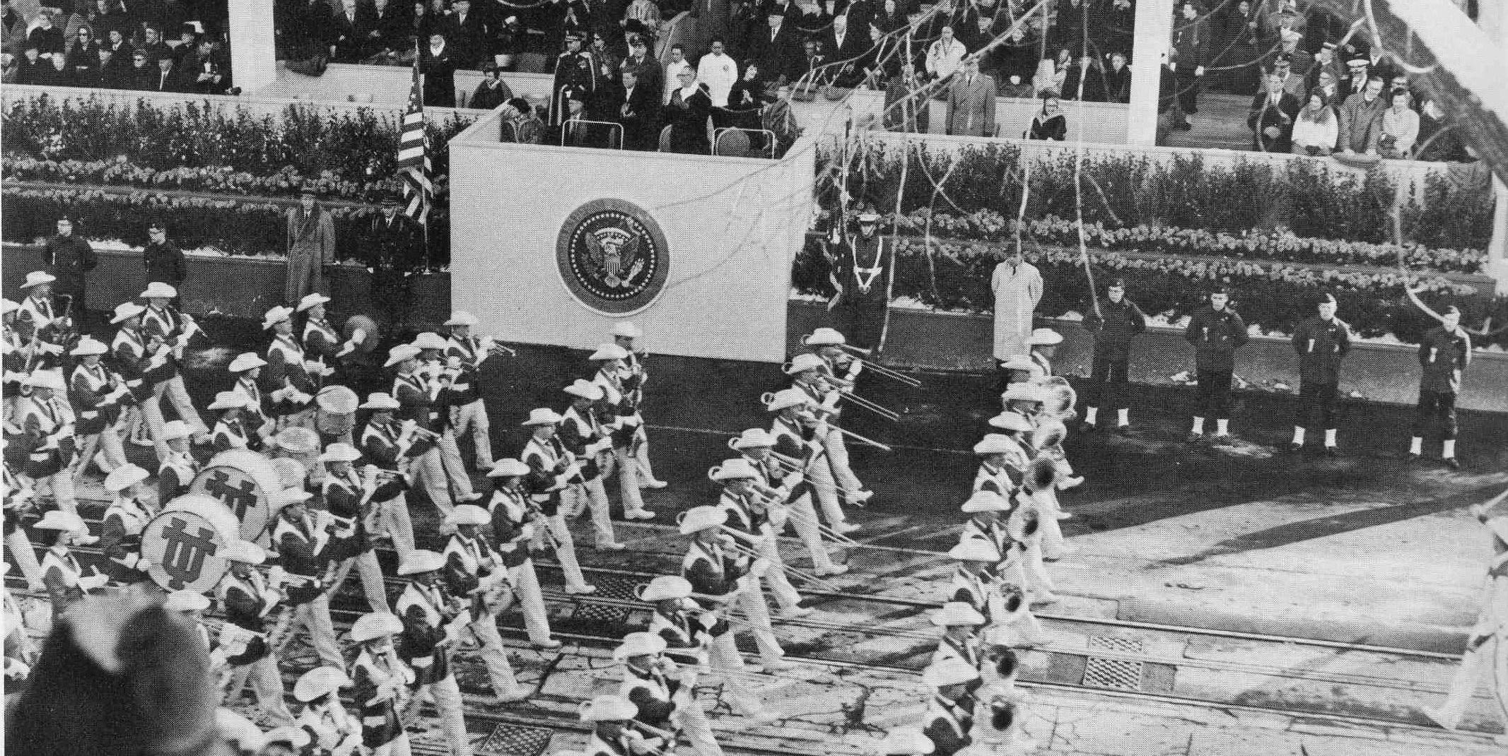 Longhorn Band marching in JFK's inaugural parade