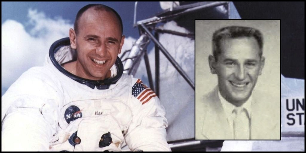 Alan Bean in space suit in Apollo 12 NASA photo with photo from cactus yearbook to the side