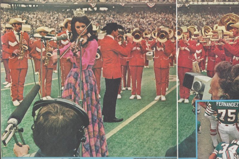 Judy Mallet plays her violin on the field during Super Bowl