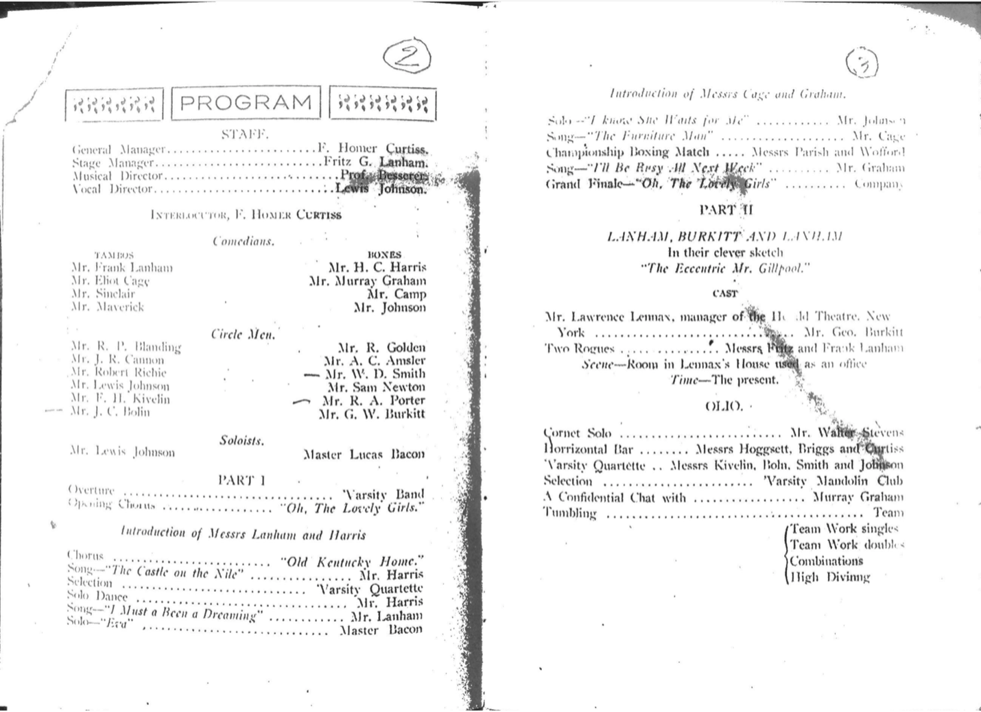 Inside program of the May 12, 1903 minstrel show.