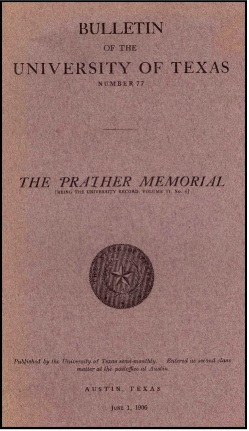 President Prather memorial program cover