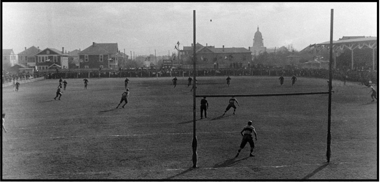 October 7, 1916: The UT vs. Rice Institutefootball game at Clark Field in Austin.