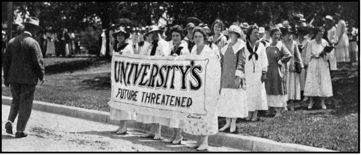 """With a banner that read """"University's Future Threatened,"""" UT students prepared to march on the Texas Capitol."""